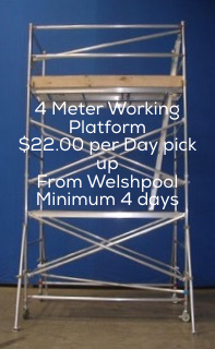 Hire 4 meter aluminium scaffolding from $22.00 per day pick up from yard